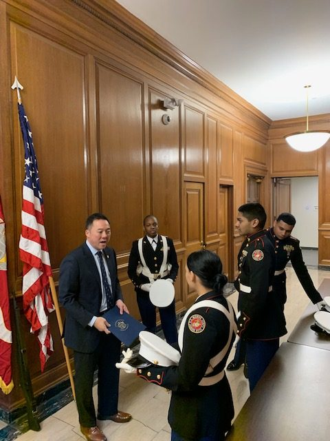 Wilby Marine Corps ROTC Presents Colors for CT Attorney General